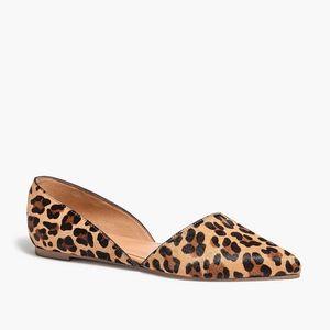 New JCREW Zoe Calf Hair d'Orsay Flats in Leopard